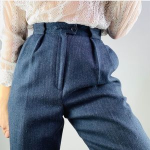 Vintage wool navy herringbone High Rise Pleat Pant